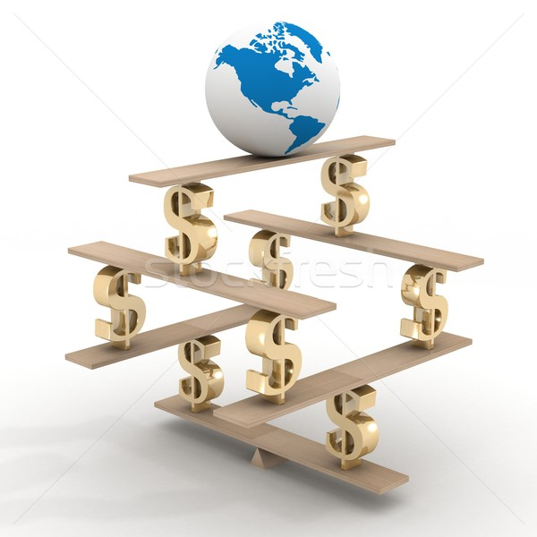 globe on a financial pyramid. 3D image. Stock photo © ISerg