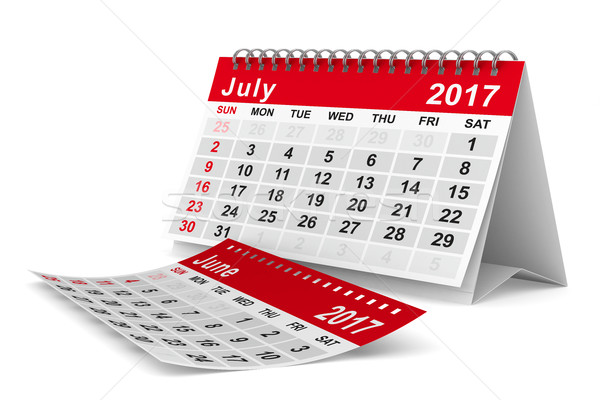 2017 year calendar. July. Isolated 3D image Stock photo © ISerg