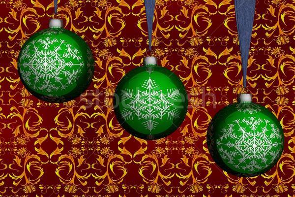 Trzy zielone christmas kule 3D obraz Zdjęcia stock © ISerg