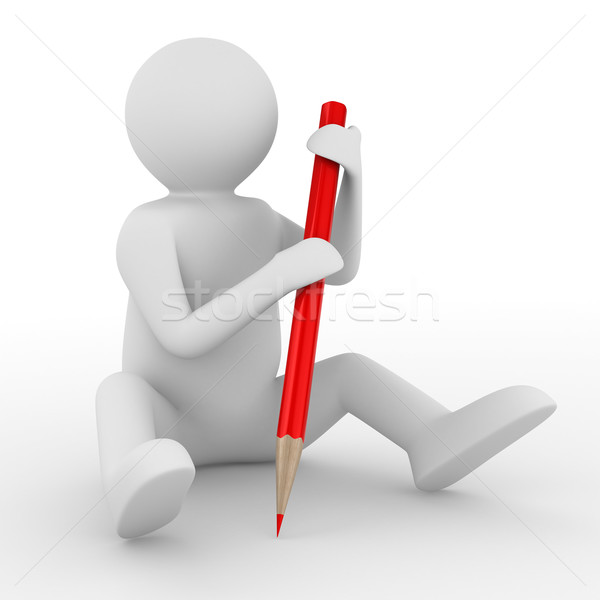 Stock photo: Man with pencil on white background. Isolated 3D image