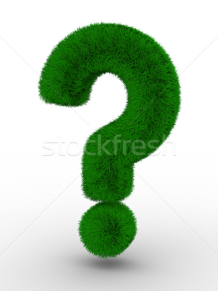Stock photo: Sign question from grass. Isolated 3D image