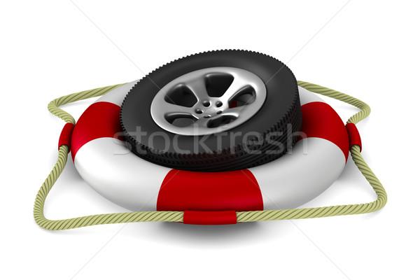 Schijf wiel witte geïsoleerd 3D afbeelding Stockfoto © ISerg
