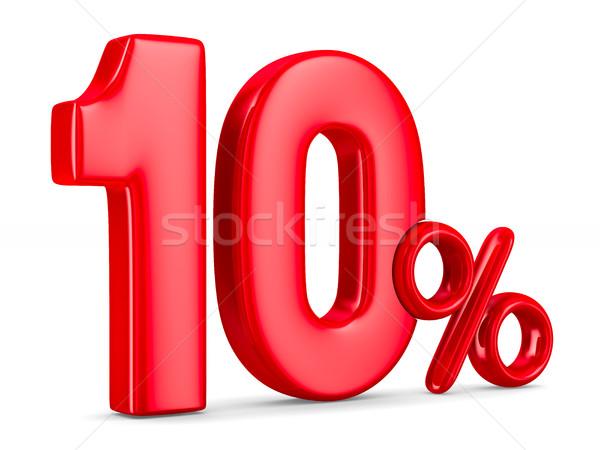 десять процент белый изолированный 3d иллюстрации деньги Сток-фото © ISerg