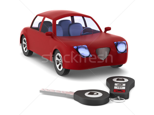 Red car and key on white background. Isolated 3D illustration Stock photo © ISerg