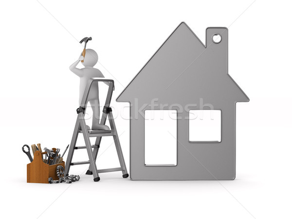 Repairman with wooden toolbox. Isolated 3D illustration Stock photo © ISerg