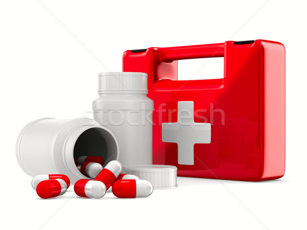 Stock photo: First aid kit on white background. Isolated 3D image