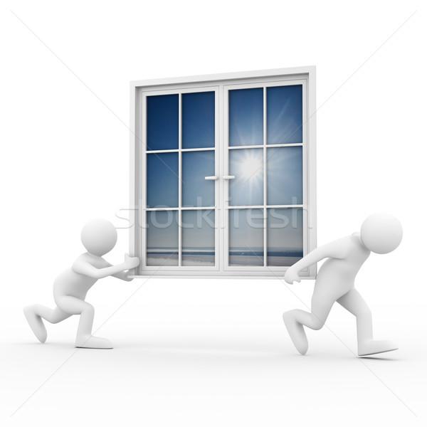 Due uomo finestra bianco isolato Foto d'archivio © ISerg