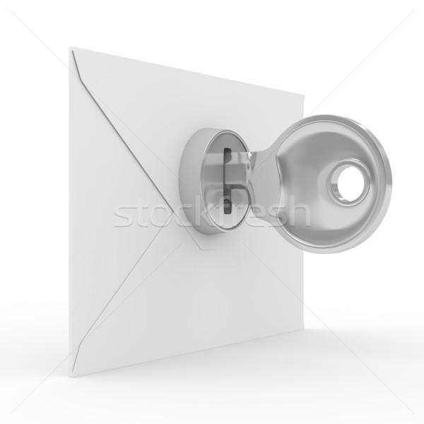 Foto stock: E-mail · branco · isolado · 3D · imagem · internet