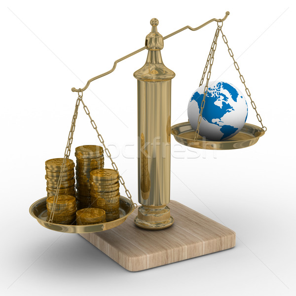 Cashes and the globe on weights. Isolated 3D image Stock photo © ISerg