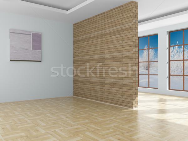 Lege kamer landschap achter Open venster 3D Stockfoto © ISerg