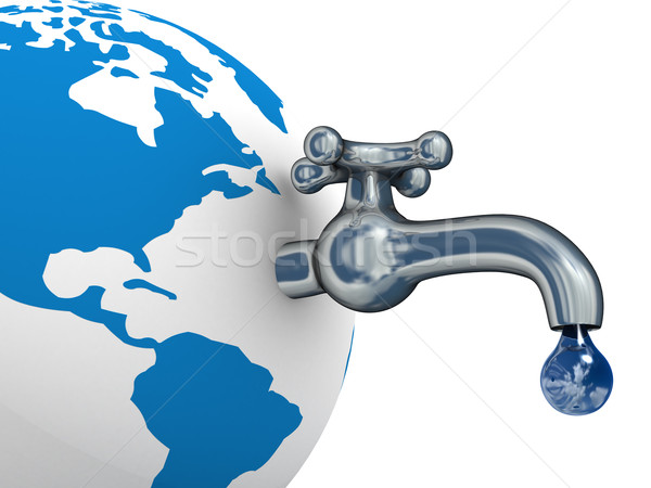 Stock photo: Water stocks on the earth. 3D image.