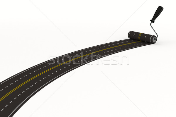 Stockfoto: Weg · witte · geïsoleerd · 3D · afbeelding · reizen