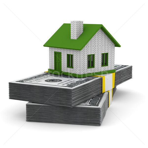 Small house and cash on white background. Isolated 3D image Stock photo © ISerg
