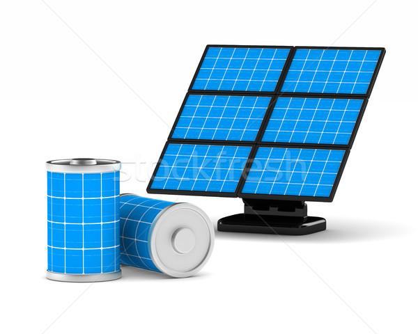 solar battery on white background. Isolated 3d illustration Stock photo © ISerg