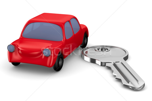 Red car and key on white background. Isolated 3D image Stock photo © ISerg