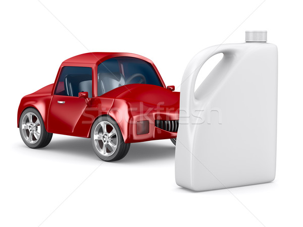 Red car and oil canister on white background. Isolated 3D image Stock photo © ISerg
