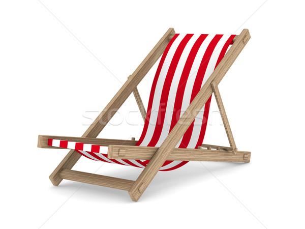Ligstoel witte geïsoleerd 3D afbeelding strand Stockfoto © ISerg
