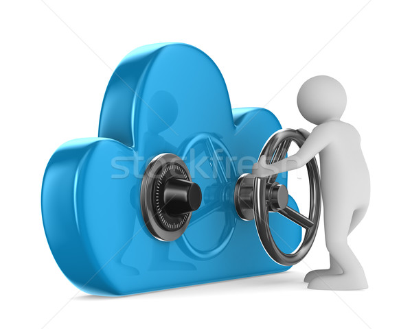 Cloud with lock on white background. Isolated 3D image Stock photo © ISerg