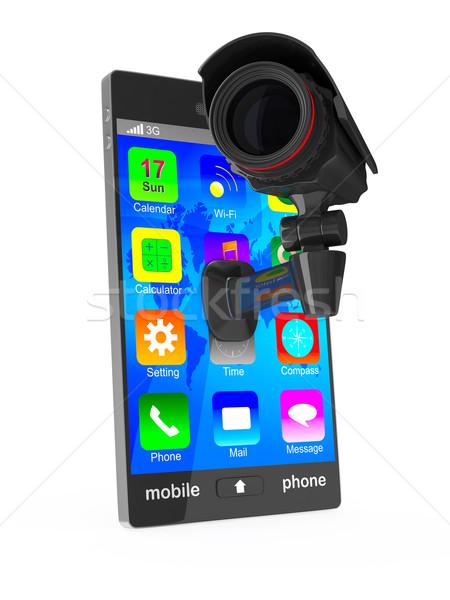 Telefono fotocamera bianco isolato 3D immagine Foto d'archivio © ISerg