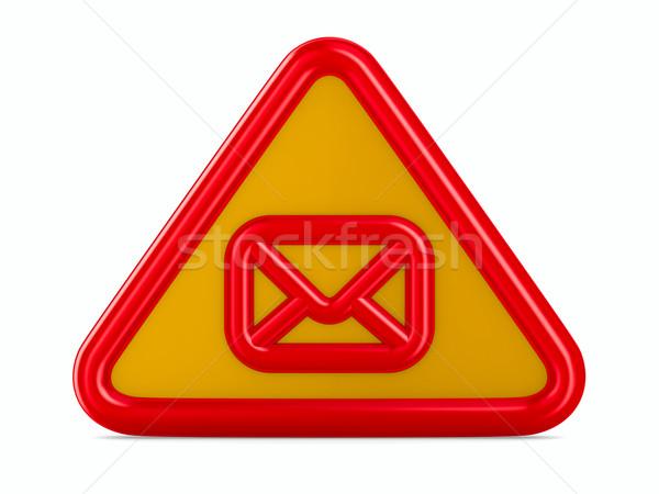 Сток-фото: конверт · дорожный · знак · белый · изолированный · 3D · изображение