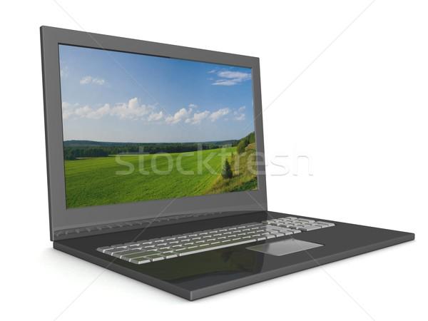 Stock fotó: Nyitva · laptop · tájkép · 3D · kép · égbolt