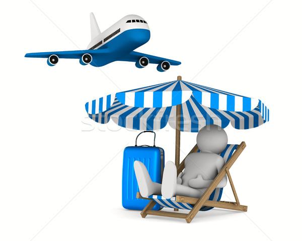 Man ligstoel bagage witte geïsoleerd 3D Stockfoto © ISerg
