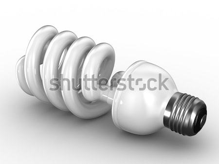 Stock photo: energy saving bulb on white background. Isolated 3D image