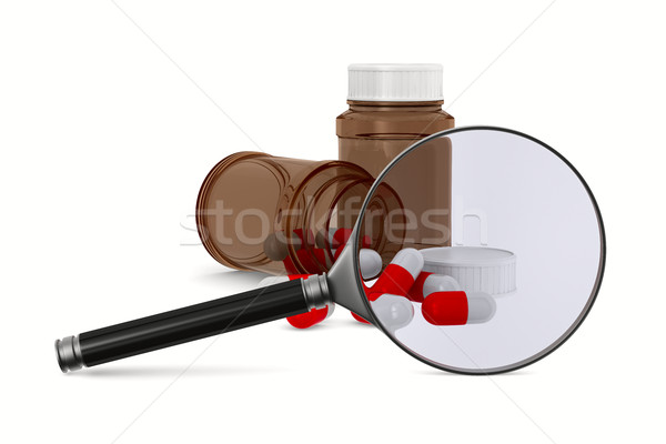 Magnifier and medecine on white background. Isolated 3D image Stock photo © ISerg