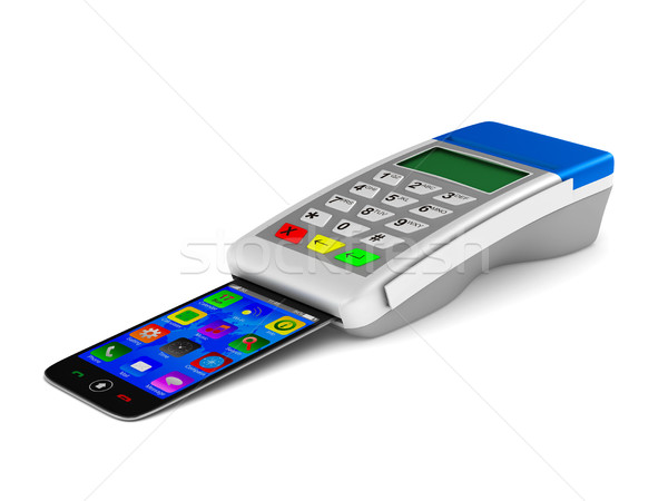 Foto stock: Pago · teléfono · blanco · aislado · 3D · imagen