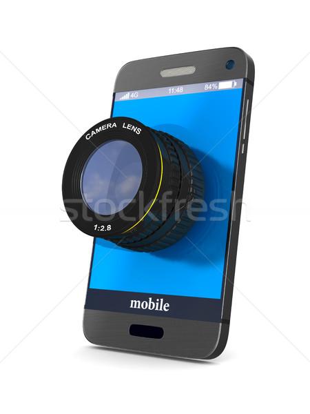 Telefono lenti bianco isolato 3D immagine Foto d'archivio © ISerg
