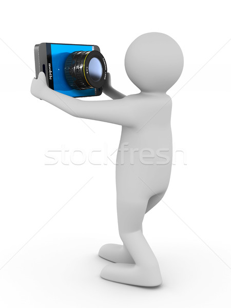 men does selfie on white background. Isolated 3D image Stock photo © ISerg
