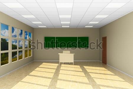 Zdjęcia stock: Pusty · klasie · tablicy · 3d · ilustracji · domu · drewna