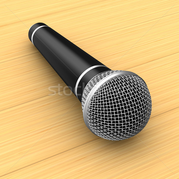 microphone on wooden table. 3D illustration Stock photo © ISerg