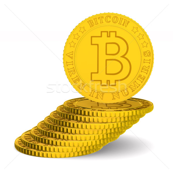 coin bitcoin on white background. Isolated 3D illustration Stock photo © ISerg