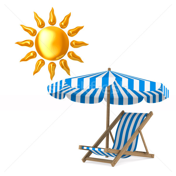 Deckchair and parasol and sun on white background. Isolated 3D i Stock photo © ISerg