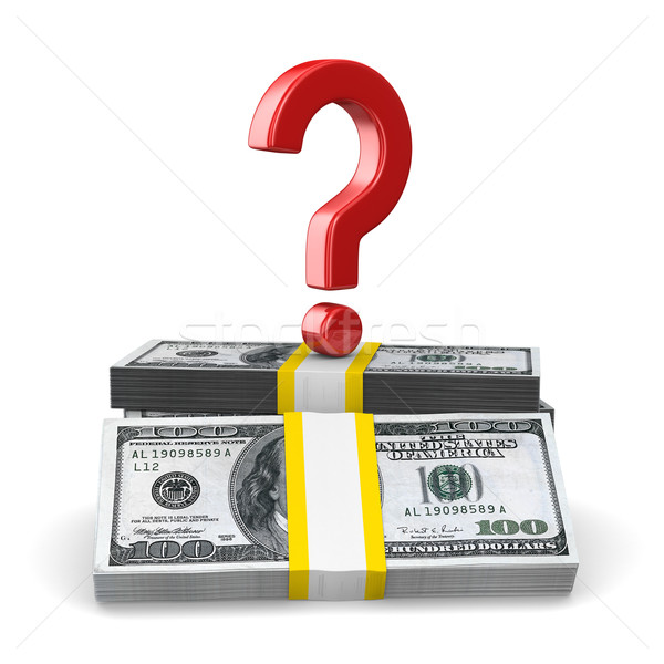 question on pack of dollars. Isolated 3D image Stock photo © ISerg