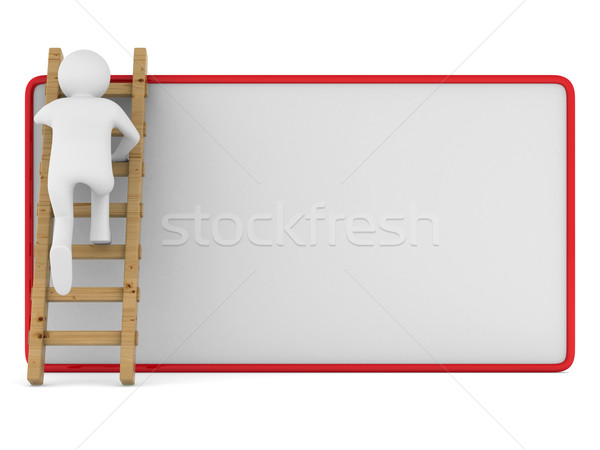 man clambering on poster. Isolated 3D image Stock photo © ISerg