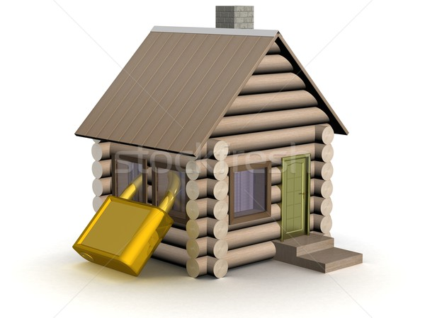 Wooden small house. The safety concept. 3D image. Stock photo © ISerg