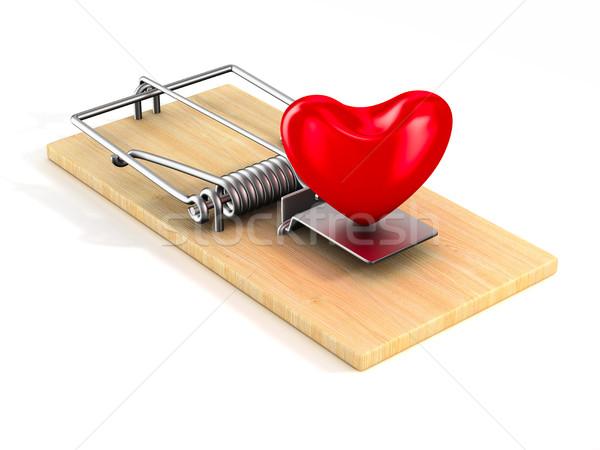 Stok fotoğraf: Kalp · yalıtılmış · 3D · görüntü · bahar · romantizm