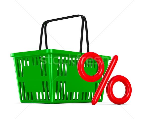 Verde vazio carrinho de compras por cento branco iso Foto stock © ISerg
