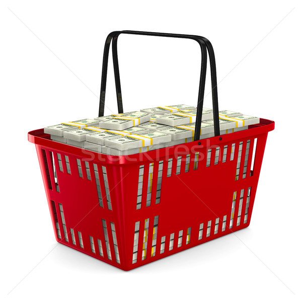 Red shopping basket with money on white background. Isolated 3d  Stock photo © ISerg