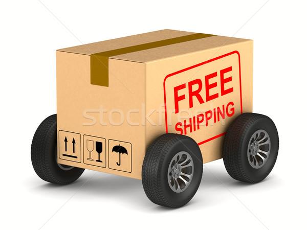 Livraison gratuite fret boîte roue blanche isolé Photo stock © ISerg