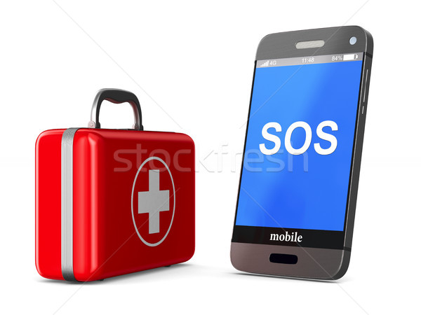 first aid kit and phone on white background. Isolated 3D illustr Stock photo © ISerg