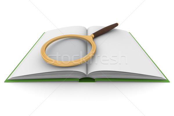 Nyitott könyv nagyító fehér izolált 3D kép Stock fotó © ISerg