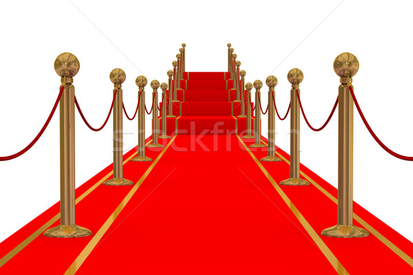 Red carpet path on a stair. 3D image. Stock photo © ISerg