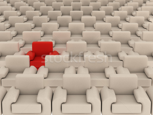 Row of white armchairs and one red. 3D image. Stock photo © ISerg