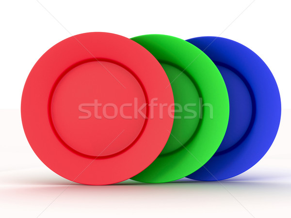 Set of plates in colours of a RGB. 3D image. Stock photo © ISerg