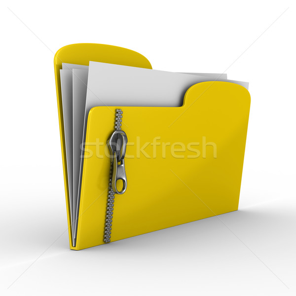 Jaune ordinateur dossier zipper isolé 3D Photo stock © ISerg