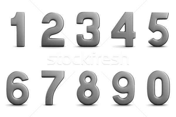 Numbers on white background. Isolated 3D image Stock photo © ISerg
