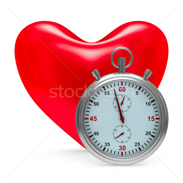 heart and stop watch on white background. Isolated 3D image Stock photo © ISerg